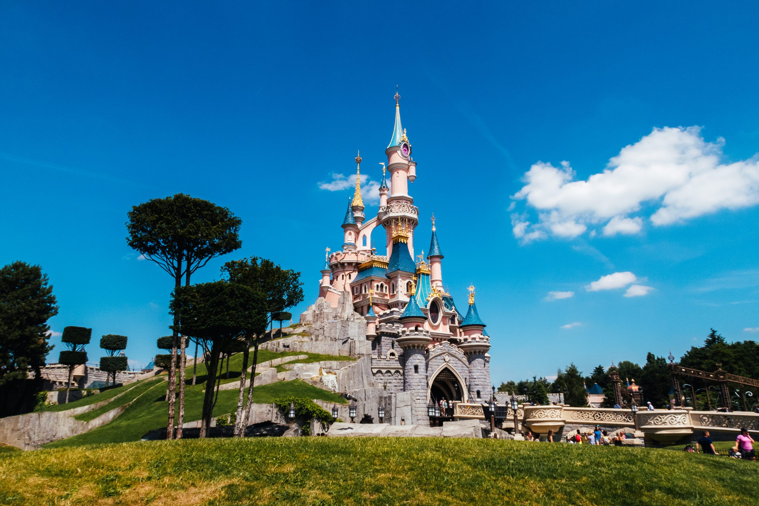 Disneyland Paris castle on a warm summers day