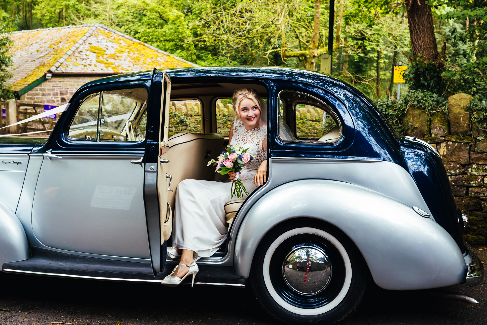 Second Wedding Photographer - Bride leaving car before wedding ceremony