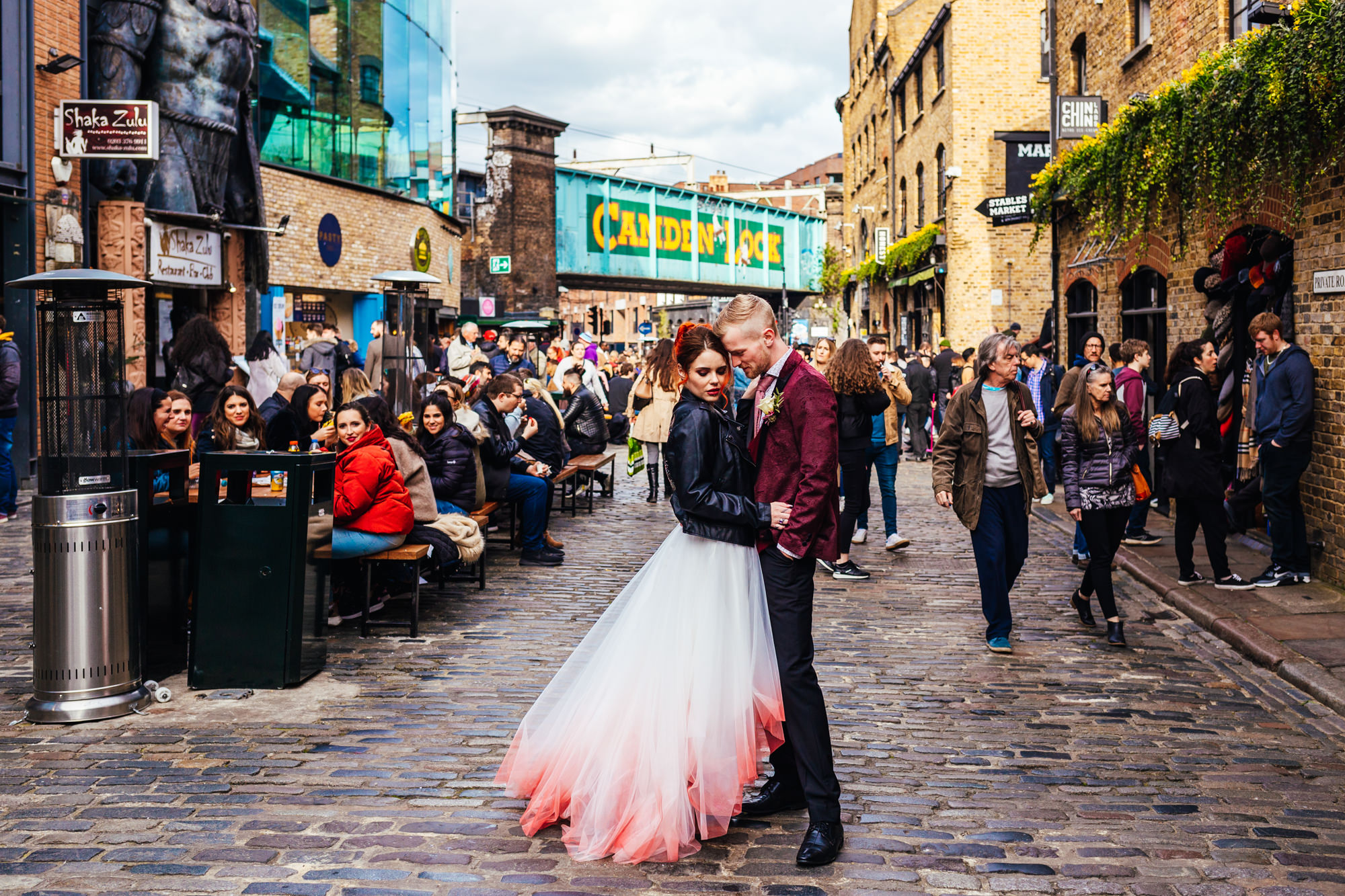 Little Wedding - Couple stood in the middle of Camden on their wedding day